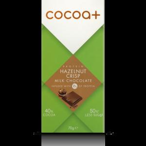 Cocoa+ hazelnut crisp milk chocolate bar