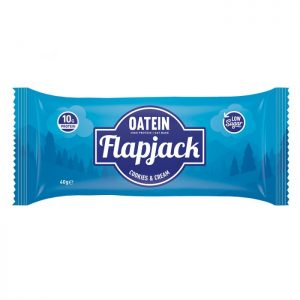 Oatein flapjack low in sugar cookies and cream